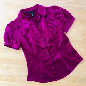 H&M • V-neck Blouse with cinched sleeves • Purple